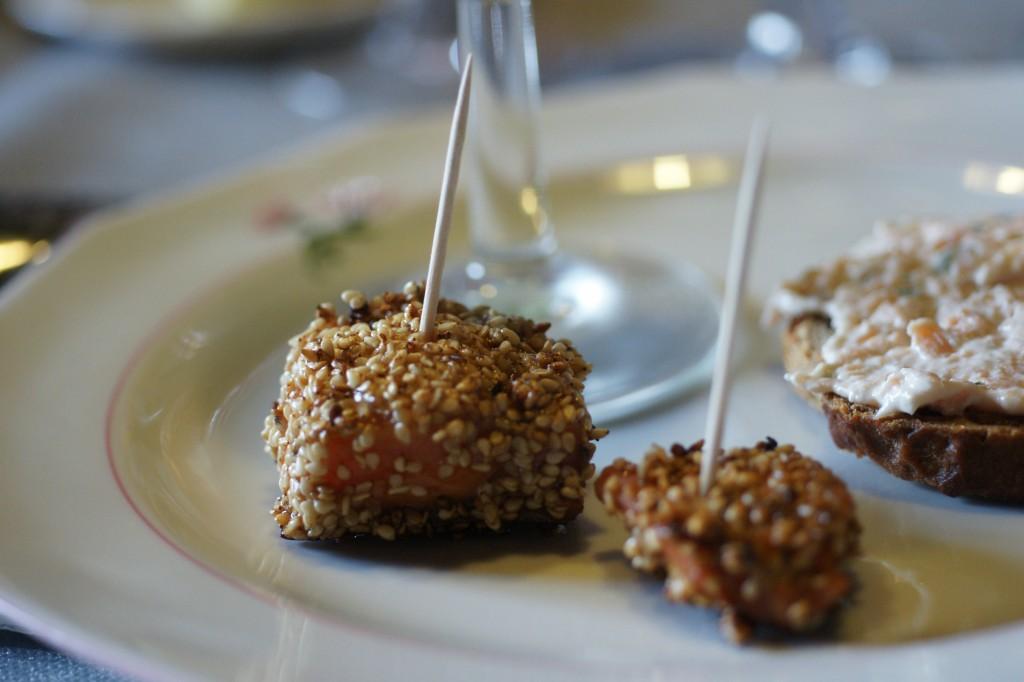 Brochette saumon sésame